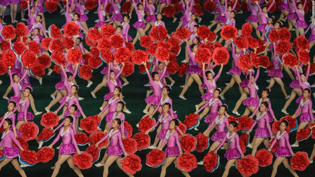 """The Arirang Mass Games -- an annual North Korean artistic festival -- were suspended in 2014 and 2015. Pan watched the <a href=""""http://www.dprk360.com/360/arirang2013/""""  Games in 2013</a>."""