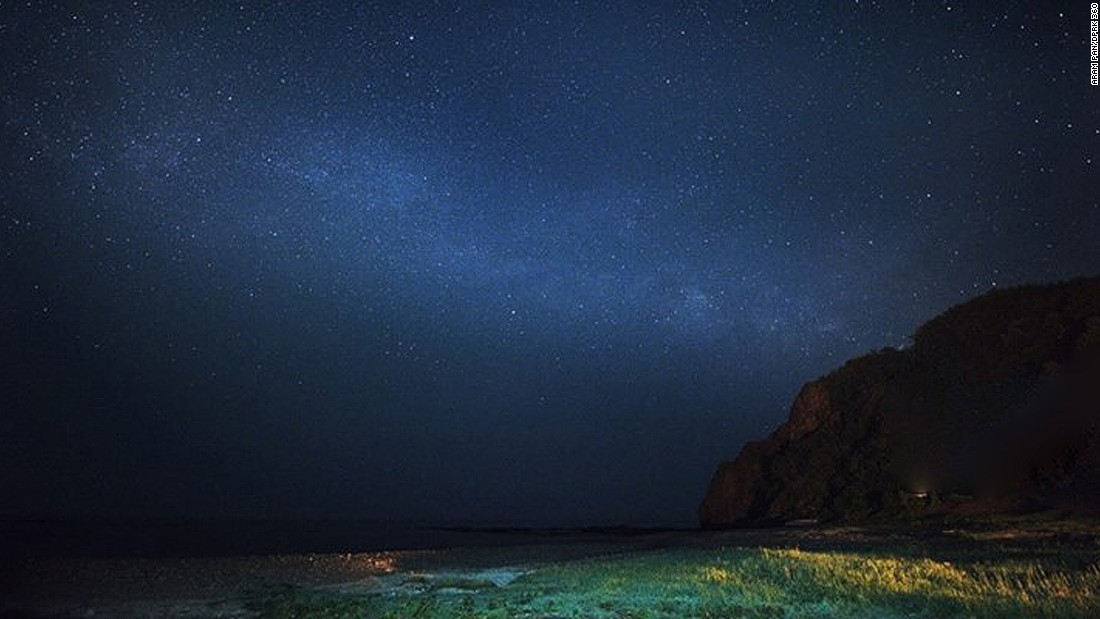 """""""A city dweller like me finds the North Korean countryside and mountains particularly spectacular,"""" says Pan. """"Somewhere along the beach of the North Hamgyong Province,  North Korea. I could see what seems to be part of the milky way."""""""