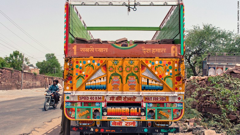 """Many of the trucks have the words """"Horn Please"""" emblazoned on the rear, a call for drivers to honk their horns when overtaking the truck.<br />""""On the road in India it's very loose -- people are weaving in and out, you have animal carts, pedestrians, cows wandering out,"""" said Eckstein.<br />""""And the horn is a really stabilizing factor in letting everyone know where everyone else is.""""<br />"""