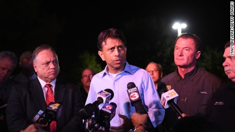 Gov. Bobby Jindal speaks to the media near the Grand Theatre on July 23, 2015, in Lafayette, Louisiana.