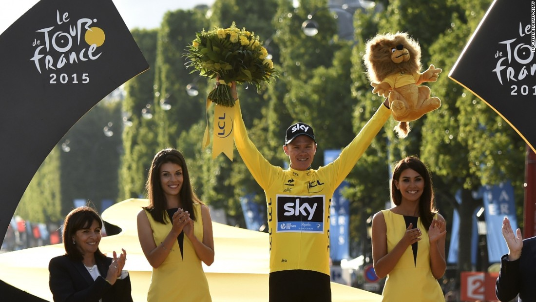 Chris Froome celebrates on the podium in Paris after winning the Tour de France for the second time.
