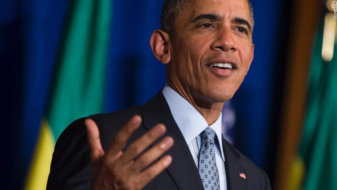 Obama speaks during a joint news conference with Desalegn at the National Palace on July 27.