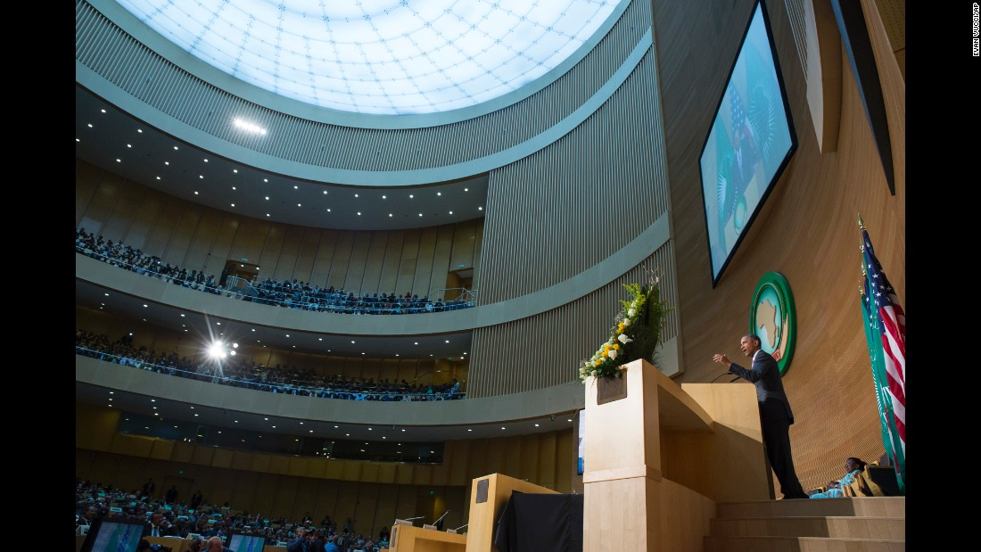 President Barack Obama delivers a speech to the African Union in Addis Ababa, Ethiopia, on Tuesday, July 28. Obama is the first American leader to visit Ethiopia, Africa's second-most populous nation. The visit follows a brief trip to Kenya, Obama's first visit to his father's homeland as commander in chief.