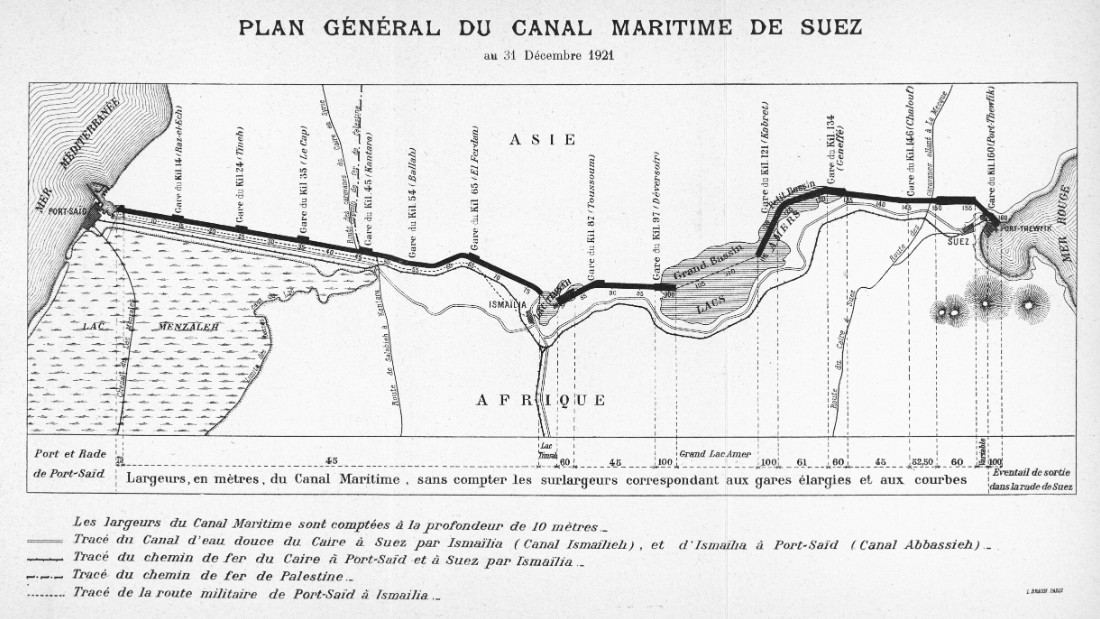 Suez Egypt  city images : 1921 map of the Suez Canal, running south from Port Said on the ...