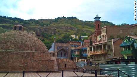"The baths in Abanotubani follow the Persian tradition, only the thermal water bubbles up naturally from the ground below the city. Tbilisi gets its name from the Old Georgian word ""tbili,"" meaning warm, due to its hot, sulfurous water."