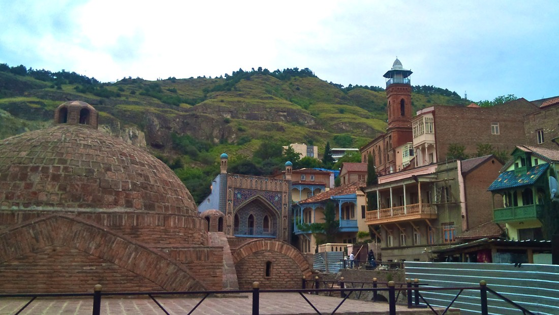 """The baths in Abanotubani follow the Persian tradition, only the thermal water bubbles up naturally from the ground below the city. Tbilisi gets its name from the Old Georgian word """"tbili,"""" meaning warm, due to its hot, sulfurous water."""