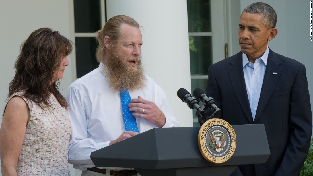 In May 2014, the United States transferred five Taliban detainees to Qatar in exchange for the release of Sgt. Bowe Bergdahl, a U.S. soldier held by the Taliban since 2009. Here, Bergdahl's father -- flanked by Bergdahl's mother and U.S. President Barack Obama -- makes a statement about the release of his son.