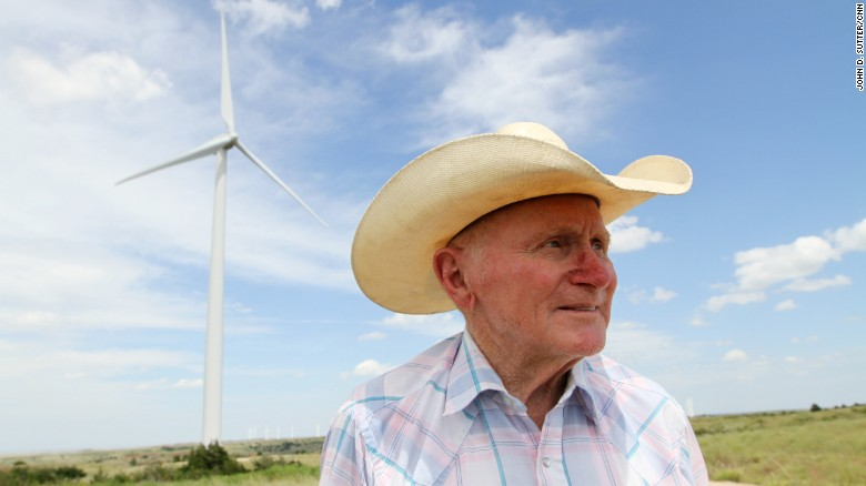 Harold Wanger, 81, leases part of his ranch to wind farm developers.