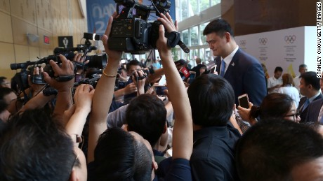Former NBA star Yao Ming, ambassador of the Beijing 2022 Winter Olympic Games bid, speaks to the media.