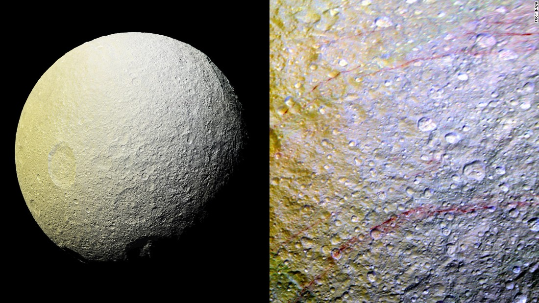 NASA's Cassini spacecraft has spotted mysterious reddish streaks on the surface of Saturn's icy moon Tethys. The red streaks are only a few miles wide but several hundred miles long. The images were taken in April. Scientists aren't sure what's causing the streaks.