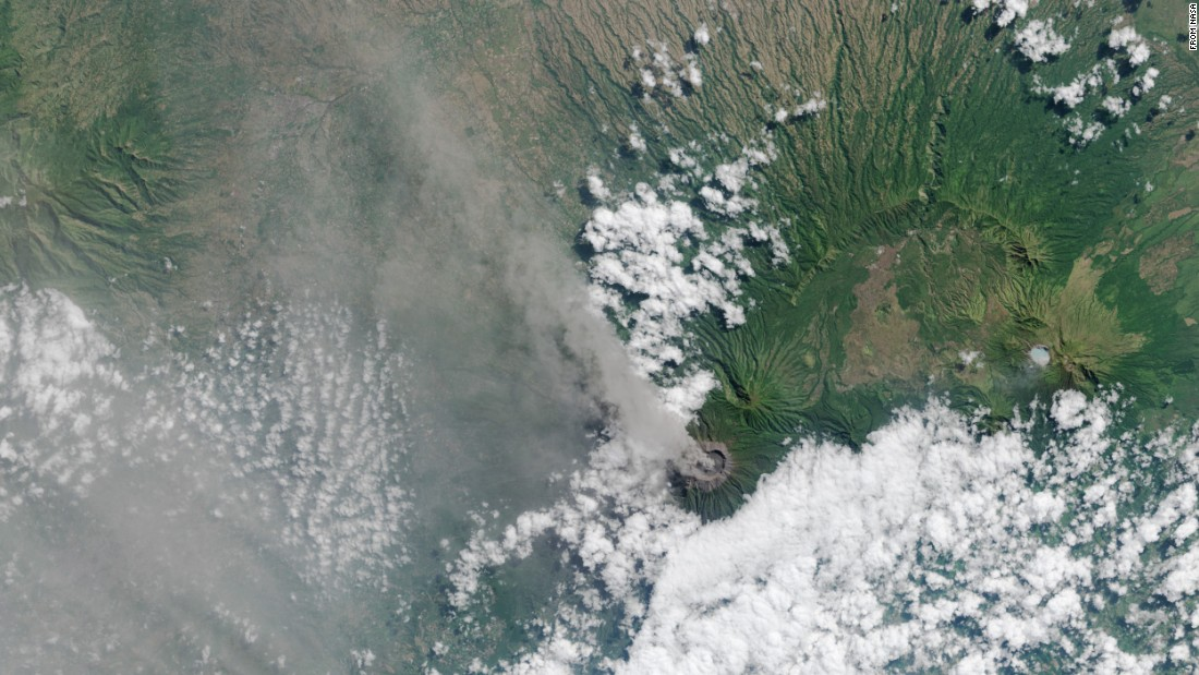 Ash and volcanic gases rise from the Mt. Raung volcano's caldera and drift northwest on the Indonesian island of Java. This image was captured by the Landsat 8 satellite on July 27. Mount Raung erupted at least 13 times in the past 25 years, according to the Smithsonian Global Volcanism program. The most recent eruption has been going for about four weeks. Ash has forced authorities to temporarily cancel flights and close airports.