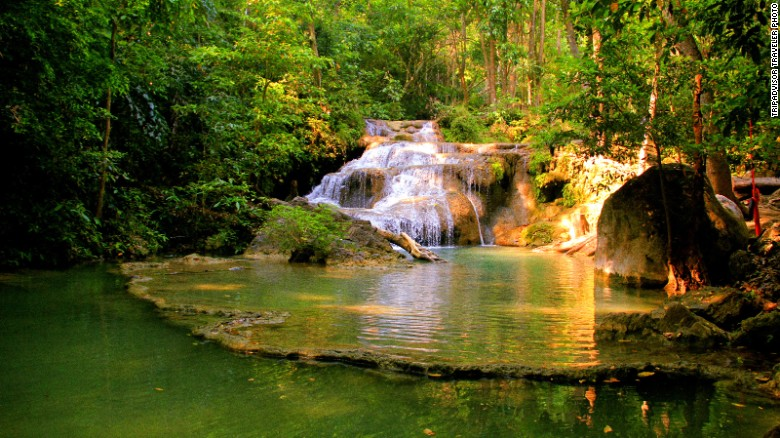 The seven-tiered Erawan Falls owe their name to a supposed resemblance to Erawan, the mythical three-headed elephant.