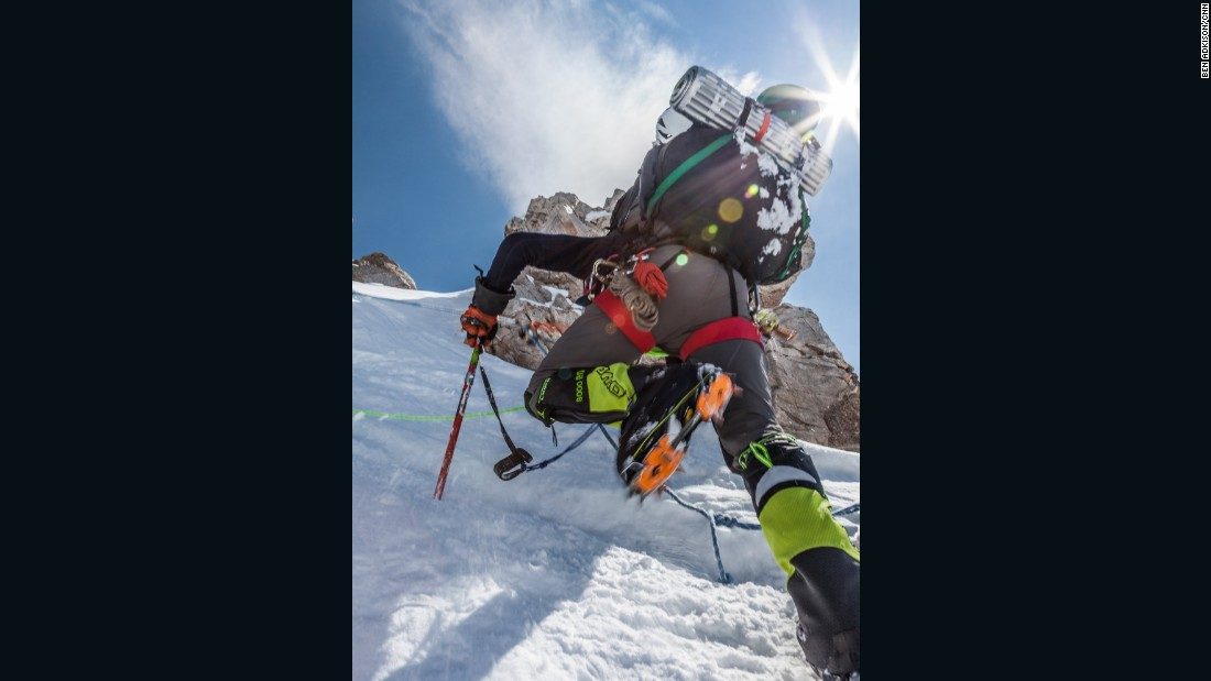 The ridge that traverses from the top of the fixed lines to high camp is one of the most technically challenging parts of the West Buttress route. It requires steep snow climbing and crossing narrow, knife-edge sections all while wearing a heavy pack.