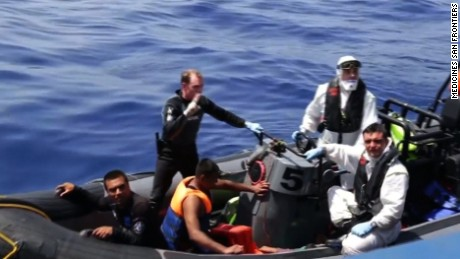 """Rescuers are trying to save hundreds of migrants Wednesday after their fishing boat capsized off the coast of Libya.  An Irish naval vessel is also involved in the rescue of approximately 600 people who were aboard the capsized boat. At least 165 people have been pulled from the water alive, but 17 bodies have also been recovered.  Doctors Without Borders says there are """"many deaths"""" at the scene but cannot confirm how many"""