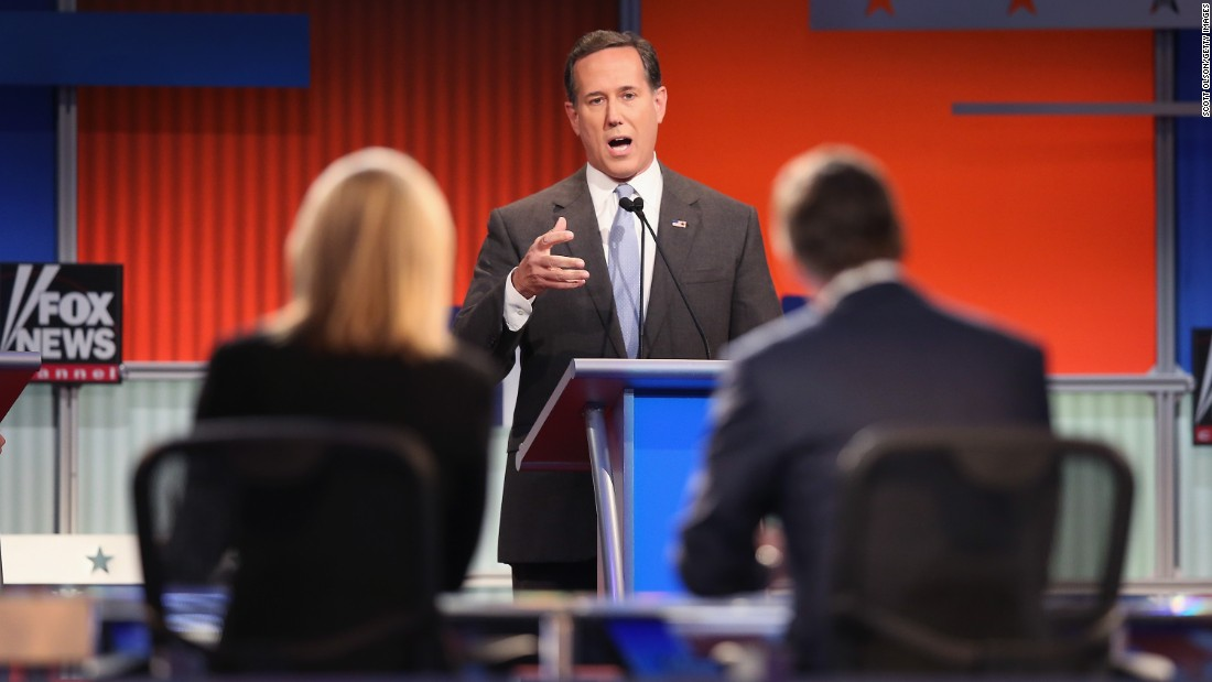 Rick Santorum answers a question during the debate. Santorum has said in the past that he believes Planned Parenthood is dehumanizing unborn children.