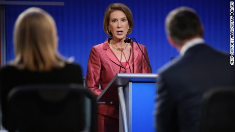 Republican presidential candidate Carly Fiorina participates in a presidential pre-debate forum hosted by FOX News and Facebook at the Quicken Loans Arena August 6, 2015 in Cleveland, Ohio.
