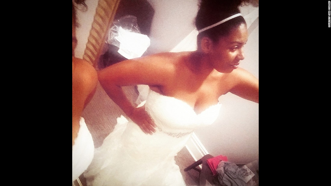 Collins faced her fears and took this picture while trying on wedding dresses this summer.