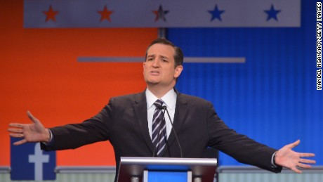 Texas Senator Ted Cruz participates in the Republican presidential primary debate on August 6, 2015 at the Quicken Loans Arena in Cleveland, Ohio. AFP PHOTO / MANDEL NGAN        (Photo credit should read MANDEL NGAN/AFP/Getty Images)
