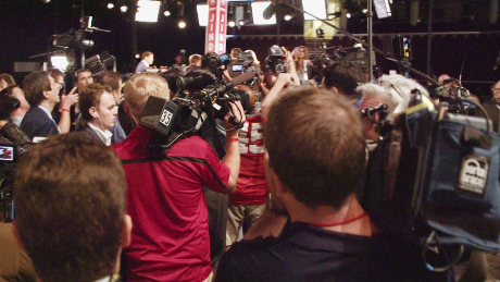 Inside the debate spin room at the first GOP presidential debate of the 2016 campaign.