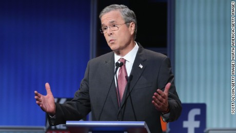 Republican presidential candidate Jeb Bush fields a question during the first Republican presidential debate hosted by Fox News and Facebook at the Quicken Loans Arena on August 6, 2015 in Cleveland, Ohio.