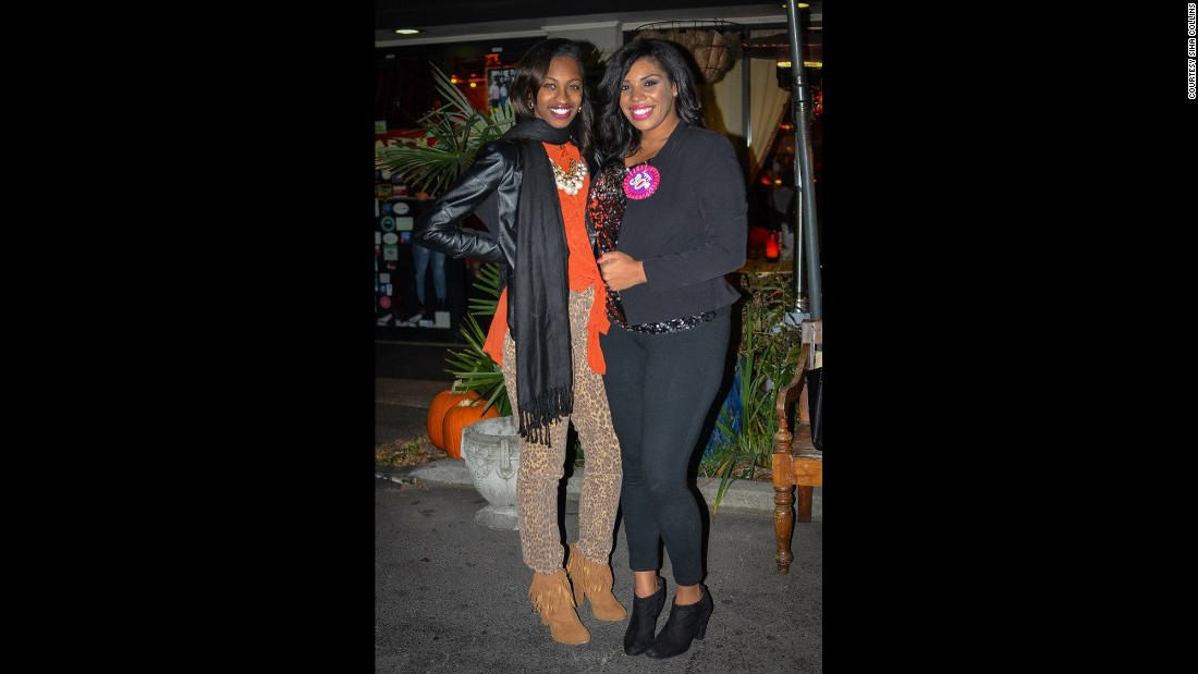 Collins poses with a friend at her 30th birthday party in November.