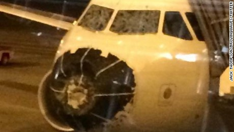 Jack Thompson, a passenger on Delta Flight 1889 from Boston to Salt Lake City, Utah, posted to Twitter this picture of the plane after it made an emergency landing in Denver, having been damaged as it flew through a hailstorm on Friday, August 7, 2015.