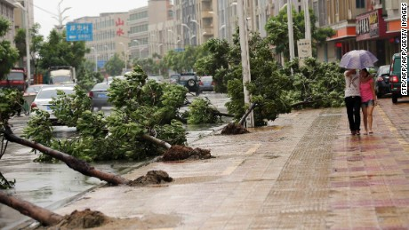 Trees torn down by strong wind are seen on the road in Jinjiang, China on August 8.