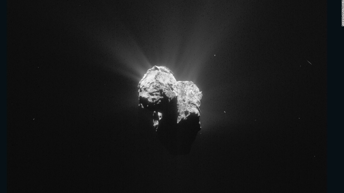 This image of Comet  67P/Churyumov--Gerasimenko was taken by Rosetta on July 8, 2015 as the spacecraft and comet headed toward their closest approach to the sun. On August 13, 2015 -- the pair will come about 116 million miles (186 million kilometers) from the sun. Rosetta was about 125 miles (201 kilometers) from the comet when it took this image on July 8, 2015. Mission managers backed the probe away from the comet was spraying out streams of materials as it neared the sun.
