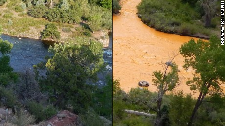 Tom Bartles, who lives in Durango, Colorado shared these photos of the Animas River from the viewpoint of his backyard before and after the spill.