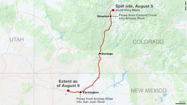 The spill into the Animas River in Colorado now extends into New Mexico.