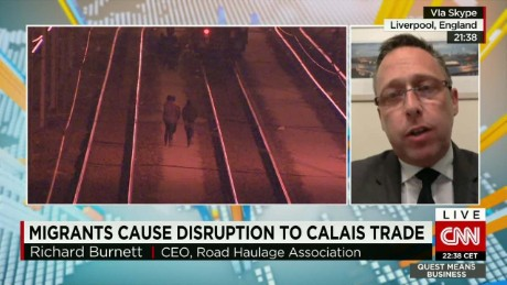 exp Richard Burnett, Road Haulage Association CEO, discusses the situation in Calais with CNNi.  _00002001.jpg
