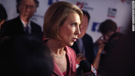 Republican presidential candidate Carly Fiorina fields questions from the press following a presidential forum hosted by FOX News and Facebook at the Quicken Loans Arena August 6, 2015 in Cleveland, OH.