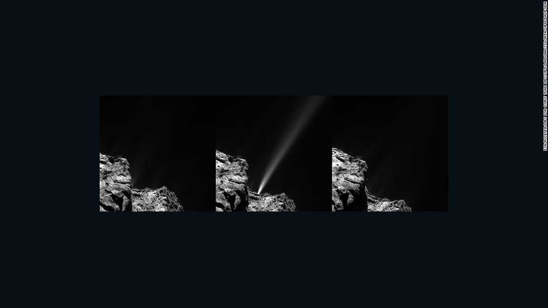 "The Rosetta spacecraft captured this <a href=""http://www.esa.int/Our_Activities/Space_Science/Rosetta/Comet_s_firework_display_ahead_of_perihelion"" target=""_blank"">image of a jet of white debris</a> spraying from Comet 67P/Churyumov--Gerasimenko on July 29, 2015. Mission scientists said this was the brightest jet seen to date in the mission. The debris is <a href=""https://solarsystem.nasa.gov/planets/profile.cfm?Object=Comets&Display=OverviewLong"" target=""_blank"">mostly of ice</a> coated with dark organic material."