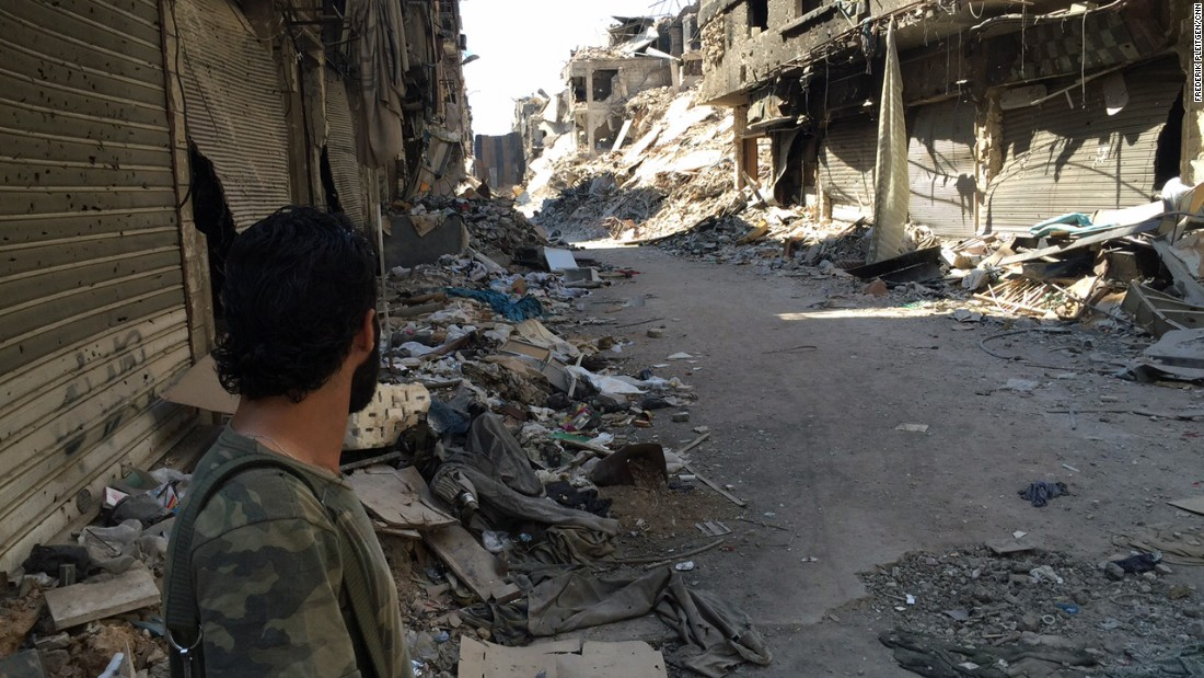 Fighting between rebels and pro-regime forces has flattened most of Yarmouk, a district in the capital that was home to more than a million people before the war began.