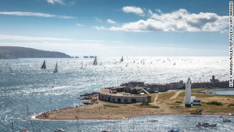 The 2013 Rolex Fastnet fleet leaving the Solent