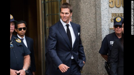 NEW YORK, NY - AUGUST 12:  New England Patriots quarterback Tom Brady leaves federal court after appealing the National Football League's (NFL) decision to suspend him for four games of the 2015 season on August 12, 2015 in New York City. The NFL alleges that Brady knew footballs used in one of last season's games was deflated below league standards, making it easier to handle.