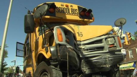 surveillance video shows school bus crash into liquor store pkg_00005011
