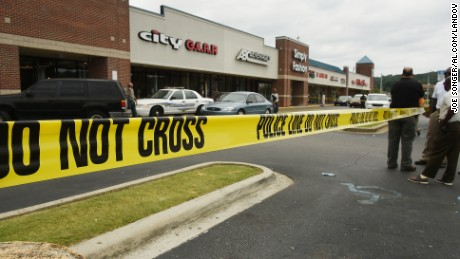 The scene where an officer was assaulted in Alabama.