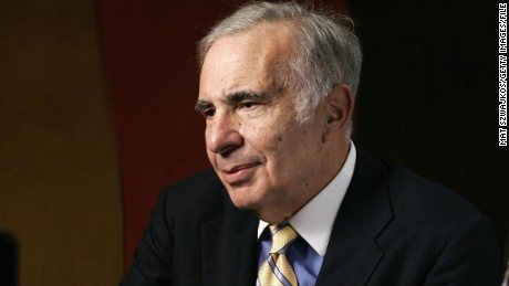 "Financier Carl Icahn is seen being interviewed at ""David Moore's Funny Business Show"" at Caroline's on Broadway on November 2, 2005 in New York City."