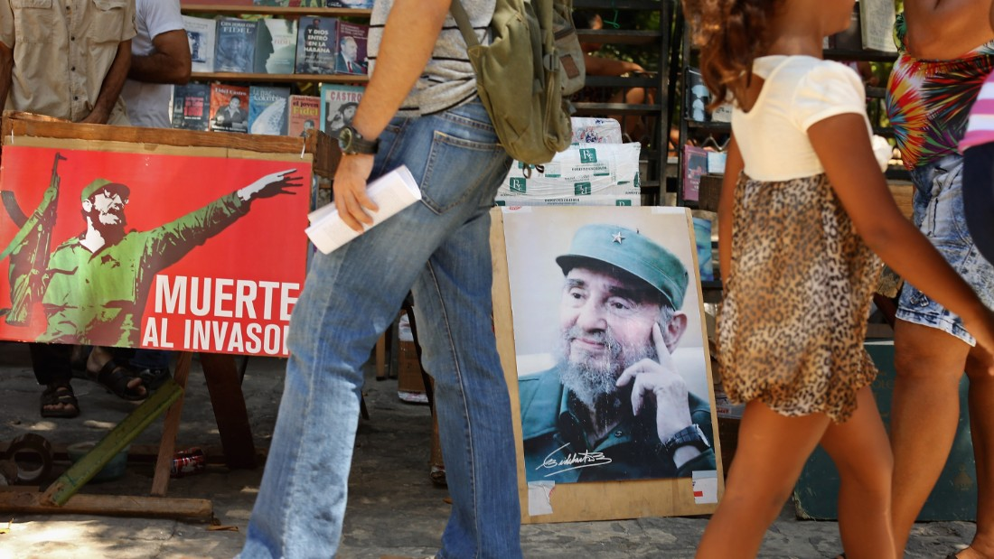 HAVANA, CUBA - AUGUST 13:  Outdoor booksellers display posters of former Cuban President Fidel Castro on his birthday in the old part of the city August 13, 2015 in Havana, Cuba. U.S. Secretary of State John Kerry will visit Havana Friday and raise the American flag at the reopened U.S. embassy, a symbolic act after the the two former Cold War enemies reestablished diplomatic relations in July.  (Photo by Chip Somodevilla/Getty Images)