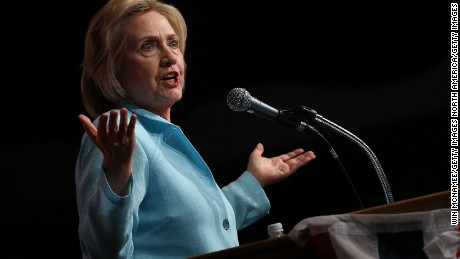 Democratic presidential candidate Hillary Clinton speaks at the Iowa Democratic Wing Ding August 14, 2015 in Clear Lake, Iowa.