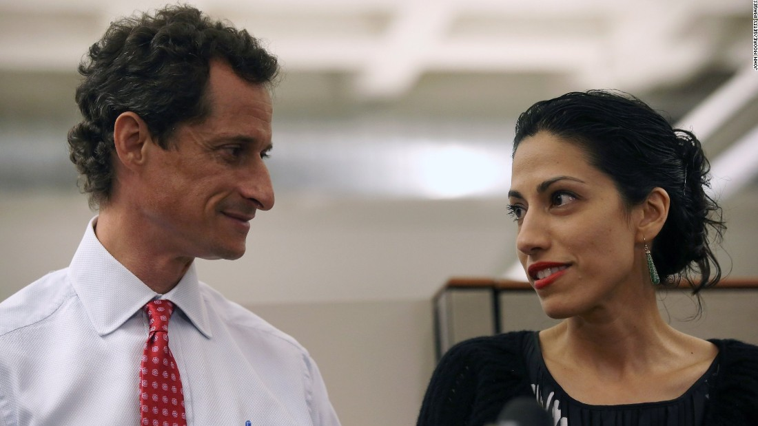 Huma Abedin, wife of Anthony Weiner, a leading candidate for New York City mayor, speaks during a press conference on July 23, 2013 in New York City. Weiner addressed news of new allegations that he engaged in lewd online conversations with a woman after he resigned from Congress for similar previous incidents.