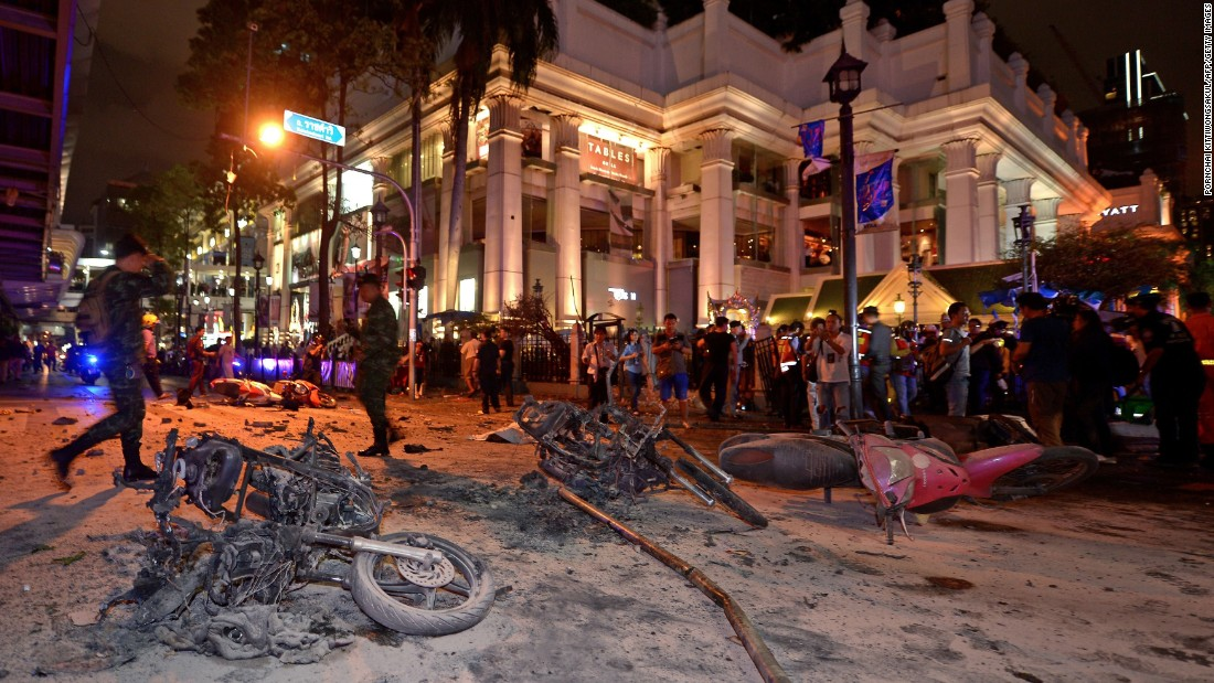 Thai soldiers inspect the scene of the explosion on August 17.