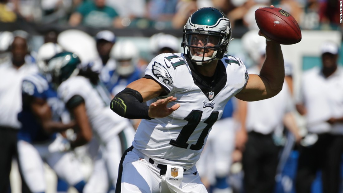 Tim Tebow throws a pass for the Philadelphia Eagles during a preseason game Sunday, August 16, in Philadelphia. He finished the game 6-for-12 with one rushing touchdown. The Eagles are the fourth NFL team for Tebow, the 2007 Heisman Trophy winner who has been a popular and polarizing figure since his college days at the University of Florida.