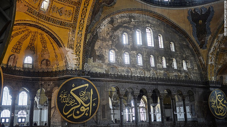 Istanbul's beautiful  1,500-year-old Aya Sofya serves simultaneously as church, mosque and museum.
