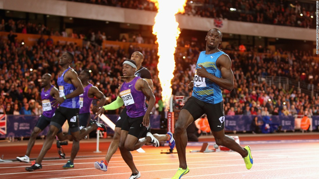 Bolt appeared to be struggling this season with form and fitness but won the Anniversary Games 100m in a time of 9.87 seconds.