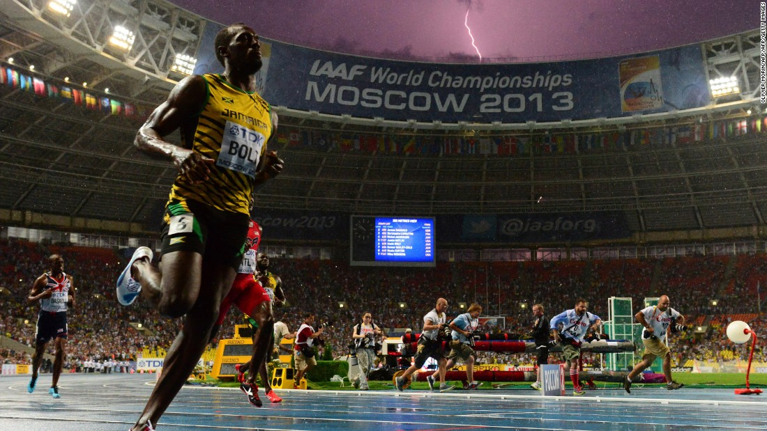 Bolt arrived in Beijing as defending triple world champion having won his 100 meter gold in Moscow two years ago under the backdrop of lightning.