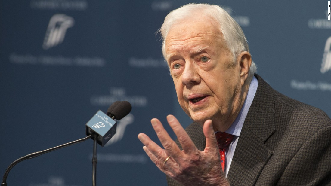 "Carter talks about <a href=""http://www.cnn.com/2015/08/20/politics/jimmy-carter-cancer-update/index.html"" target=""_blank"">his cancer diagnosis</a> during a news conference at the Carter Center in Atlanta on Thursday, August 20. Carter announced that his cancer is on four small spots on his brain and he will immediately begin radiation treatment. He said he is ""at ease with whatever comes."""