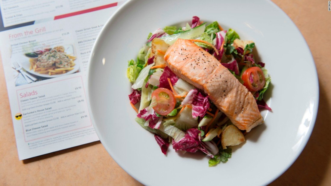 Menus feature meals such as citrus salmon salad. Gatwick called in the help of nutritionist Jo Travers to design the concept.