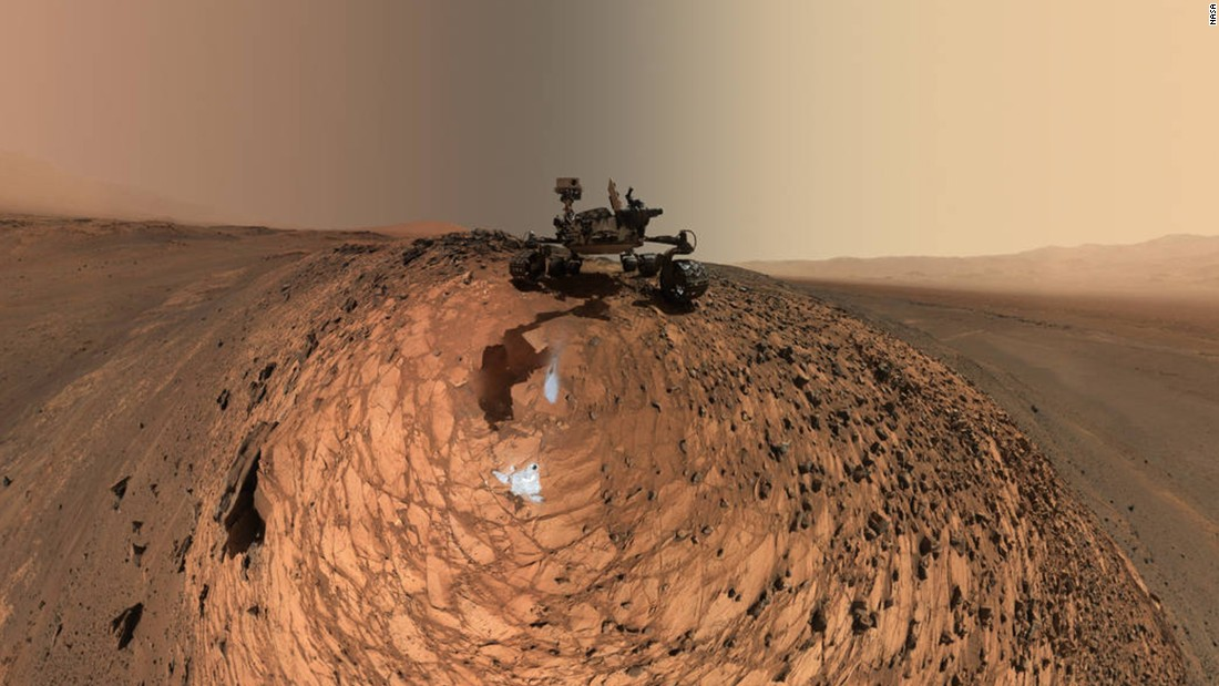 "Curiosity has snapped a<a href=""http://www.nasa.gov/jpl/msl/pia19807/curiosity-low-angle-self-portrait-at-buckskin-drilling-site-on-mount-sharp"" target=""_blank""> selfie</a>, which is actually a series of selfies combined. The images show the spacecraft above the ""Buckskin"" rock target where it drilled and collected its seventh sample of the Martian soil. Dozens of images taken on August 5 were combined to create the photo."